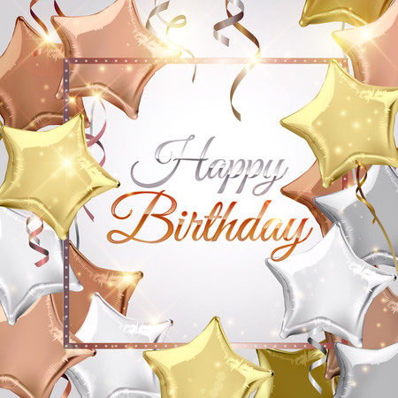 shaped: Happy Birthday background with silver, rose gold (bronze) and gold star shaped balloons. Vector illustration.Wallpaper.flyers, invitation, posters, brochure, banners