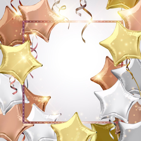 shaped: Silver, rose gold (bronze) and gold star shaped balloons. Vector illustration.Wallpaper.flyers, invitation, posters, brochure, banners