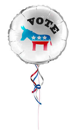 Round shaped foil helium balloons with vote text and Democrat donkey for US presidential election. Detailed and realistic Vector illustration Illustration
