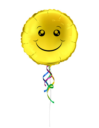 shaped: Round shaped foil helium balloons with yellow smile emoji. Detailed and realistic Vector illustration