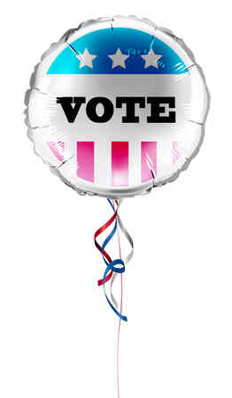 Round shaped foil helium balloons with vote text and for US presidential election. Detailed and realistic Vector