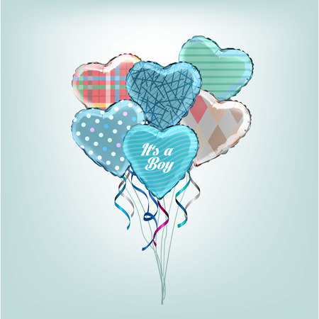 shaped: Heart shaped foil helium balloons with its a Boy text and colorful pattern. Detailed and realistic Illustration