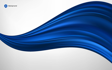 Abstract vector blue wave silk or satin fabric on white background for grand opening ceremony or other occasion