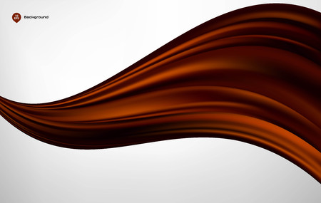 velvet ribbon: Abstract vector brown wave silk or satin fabric on white background for grand opening ceremony or other occasion Illustration