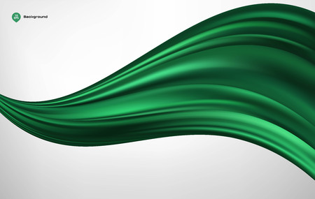 velvet ribbon: Abstract vector green wave silk or satin fabric on white background for grand opening ceremony or other occasion