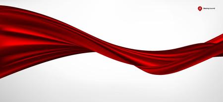 Tessuto di seta o raso dell'onda di vettore astratto su fondo bianco per la grande cerimonia di apertura o l'altra occasione Vettoriali