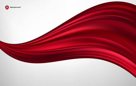 Abstract vector red wave silk or satin fabric on white background for grand opening ceremony or other occasion
