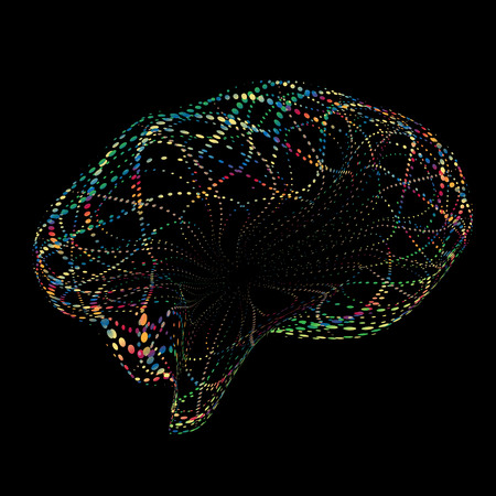 Vector brain Consisting of Points. Abstract brain shape Grid. Technology Style. Dots Networks