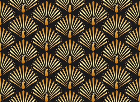 Vector illustration of golden peacock in white background seamless pattern in art deco style