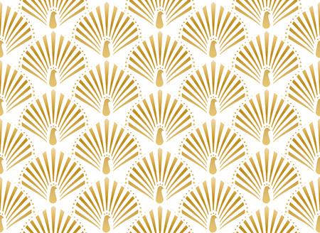 Vectorillustratie van gouden pauw in wit naadloos patroon als achtergrond in art decostijl