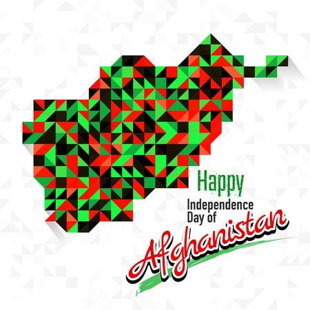 Happy Independence Day of Afghanistan with red, green and black color map. for greeting card, wallpaper and banner Illustration