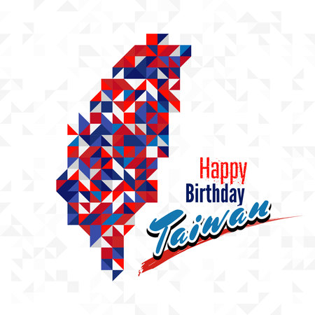 Happy Birthday Day Taiwan with red, blue and white color map. for greeting card, wallpaper and banner Illusztráció
