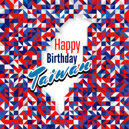 Happy Birthday Day Taiwan with red, blue and white color map. for greeting card, wallpaper and banner