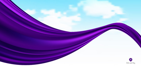 Abstract vector flying wave silk or satin fabric with background for grand opening ceremony or other occasion Çizim