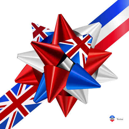 United Kingdom Flag Gift bows with ribbons.