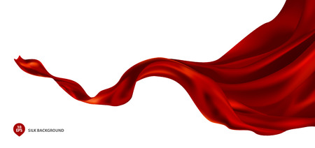 Abstract vector flying wave silk or satin fabric with background for grand opening ceremony or other occasion Ilustração