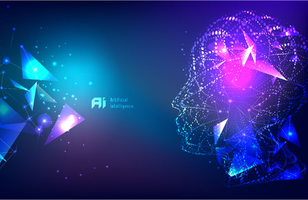 Responsive web banner design with illustration of human face made by tiny particles between glowing digital network for Artificial Intelligence (AI) deep learning concept. Illustration