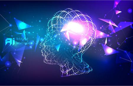 Responsives Web-Banner-Design mit Darstellung des menschlichen Gesichts aus winzigen Partikeln zwischen leuchtenden digitalen Netzwerken für das Deep-Learning-Konzept der künstlichen Intelligenz (KI).