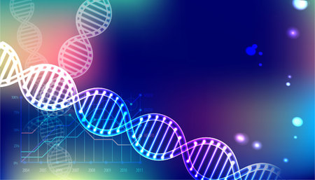 Abstract vector DNA structure in vector illustration. Great for Medical science or technology background. Ilustração