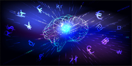 Abstract Artificial intelligence, great concepts for money transfer,currency, or stock exchange. Futuristic user analyzes infographics, online trading and e-commerce.