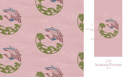 Japanese seamless pattern of flying cranes, clouds and trees