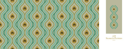 Peacock feather seamless pattern. Vector Illustration, great for background and wallpaper.