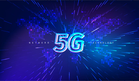 5G Technology concept with world map digital background
