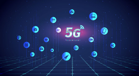 5G Technology concept digital background. Vector Illustration, great for technology or telecom innovation trend.