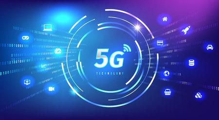 Fondo digital del concepto de tecnología 5G. Ilustración vectorial, ideal para la tendencia de innovación tecnológica o de telecomunicaciones.