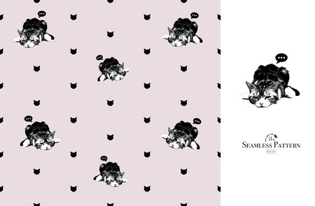 Seamless cat pattern in vector. Great for textile graphic t-shirt print or background wallpaper.