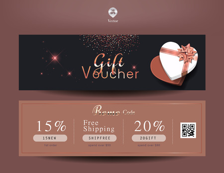 Collection of discount voucher template with ribbons bow and promo code. Detailed and realistic Vector illustration. Stok Fotoğraf - 117779393