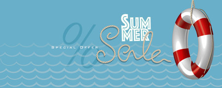 Summer sale with rope text style and lifebuoy marketing template.  Vector Illustration for greeting card, ad, promotion, poster, flier, blog, article and social media.