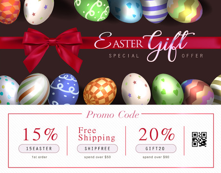 Collection of discount voucher template with ribbons bow, Easter eggs and promo QR code. Detailed and realistic Vector illustration. Illustration