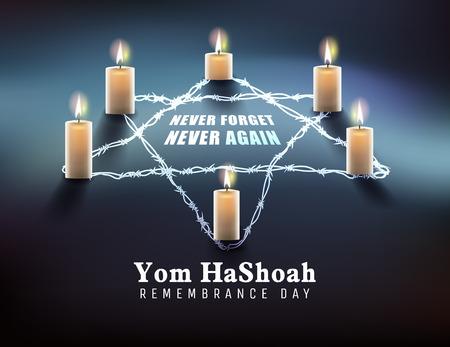 Dzień Pamięci o Ofiarach Holokaustu (żydowski Jom Hashoah) Ilustracje wektorowe