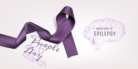 Purple day for Epilepsy Awareness. World Epilepsy Day (March 26). Realistic and detailed purple ribbon in illustration.