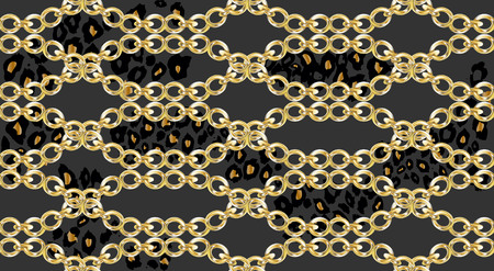Trendy seamless pattern with chains on leopard skin. Vector Illustration