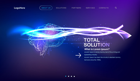 Vector Artificial Intelligence (AI) landing page with digital brain future technology images. Website template for deep learning concept or startup business.