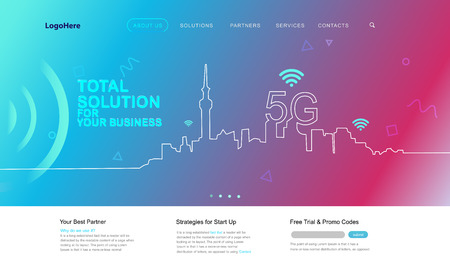 Vector 5G and IoT (Internet of Things) landing page with digital communication future technology images. Website template for internet speed concept or startup business.