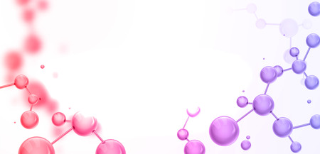 Abstract molecules structure with spherical particles. Vector illustration, great for science, medical background, website banner or flyer. 일러스트