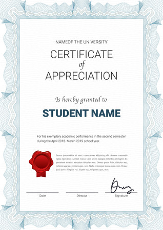 Certificate or diploma template with guilloche style in vector illustration