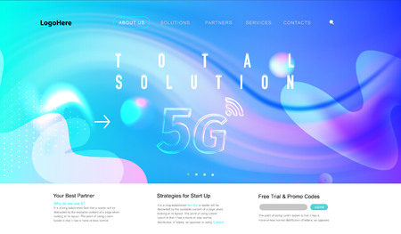 Vector 5G and IoT (Internet of Things) landing page with digital communication future technology images. Website template for internet speed concept or startup business. 스톡 콘텐츠 - 119954425
