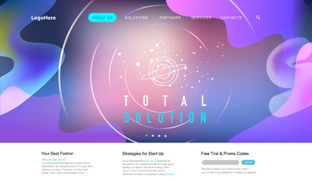 Vector space background with place landing page with total solution texts. Website template for startup business or technology company. 일러스트