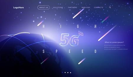 Pagina di destinazione vettoriale 5G e IoT (Internet of Things) con immagini della tecnologia del futuro della comunicazione digitale. Modello di sito Web per il concetto di velocità di Internet o attività di avvio.