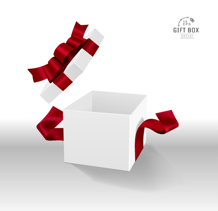 Vector Empty opened white gift box with ribbon and bow. Present package in realistic 3d style in clean background. 스톡 콘텐츠 - 119954586