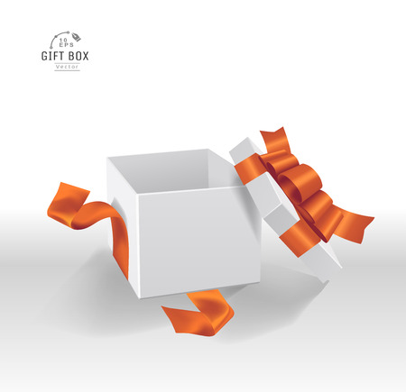 Vector Empty opened white gift box with ribbon and bow. Present package in realistic 3d style in clean background. 일러스트