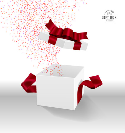 Vector Empty opened gift box with ribbon, bow and confetti. Present package in realistic 3d style. 스톡 콘텐츠 - 119954679
