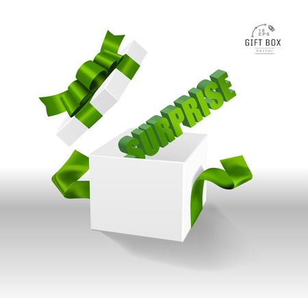 Vector Empty opened gift box with ribbon, bow and confetti. Present package in realistic 3d style. 스톡 콘텐츠 - 119954682
