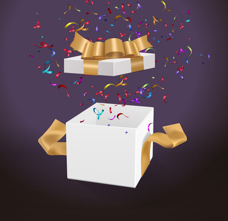 Vector Empty opened gift box with ribbon, bow and confetti. Present package in realistic 3d style.