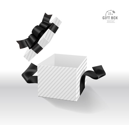 Vector Empty opened gift box with ribbon, bow and confetti. Present package in realistic 3d style. 스톡 콘텐츠 - 119954680