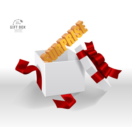 Vector Empty opened gift box with ribbon, bow and confetti. Present package in realistic 3d style. 스톡 콘텐츠 - 119954686